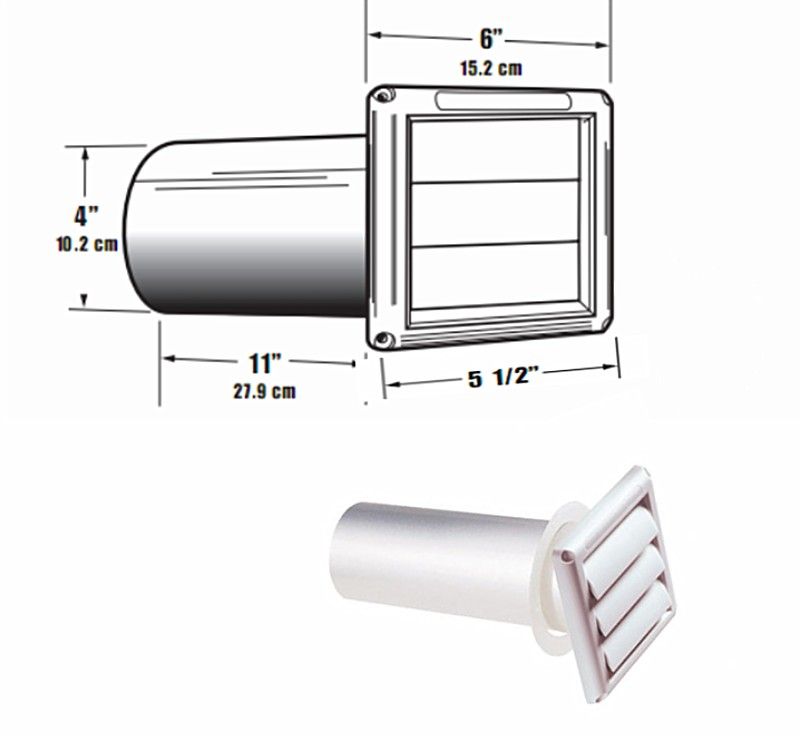 Hood Exhaust Pipe : Buy the deflect o svhuw vent hood louvered white