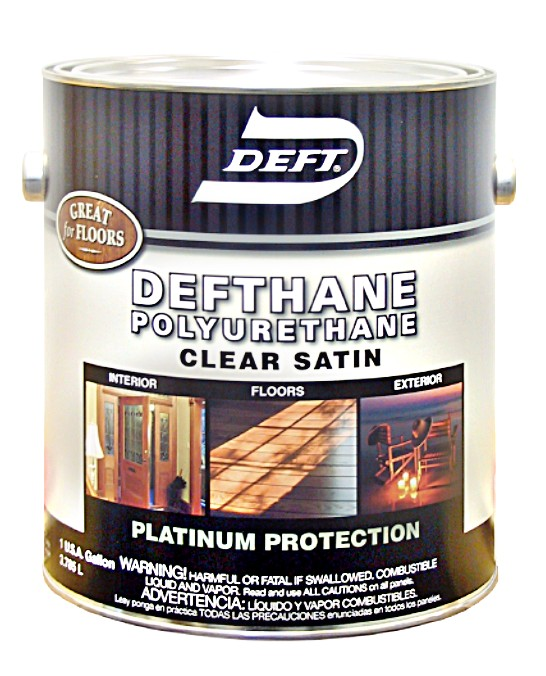 Buy the deft 02504 defthane polyurethane clear satin quart hardware world for Exterior polyurethane wood finish