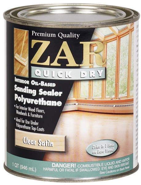Buy the zar ugl 26212 quick dry polyurethane sanding sealer satin quart hardware world for Zar exterior water based polyurethane