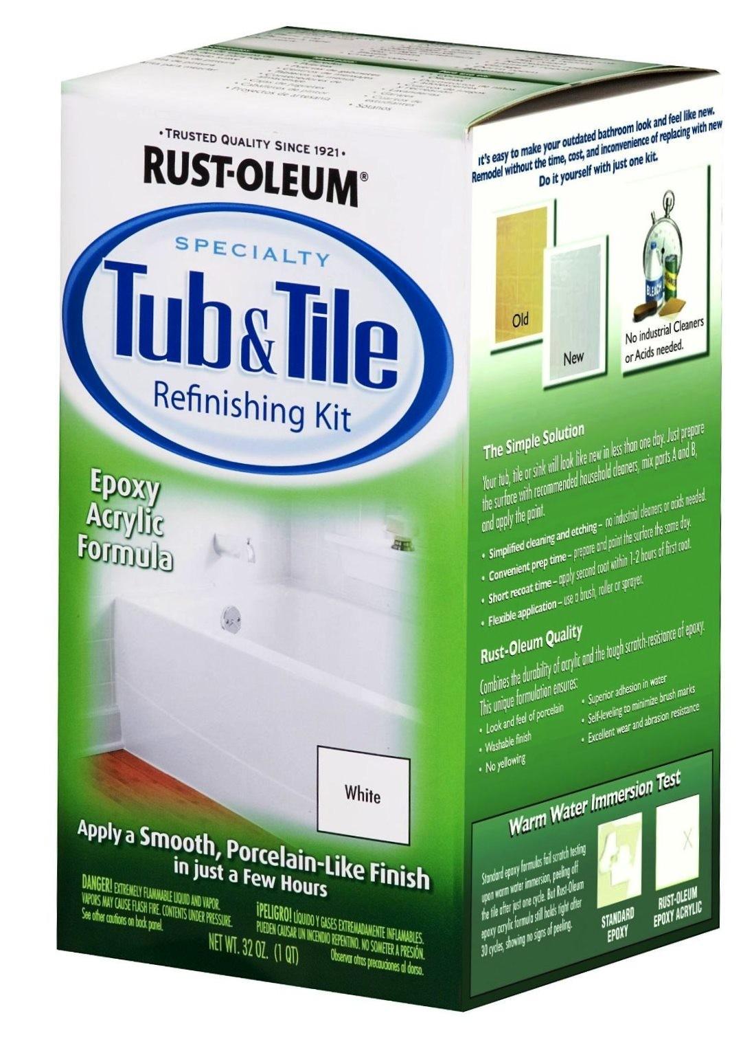 Buy the rust oleum 7860 tub tile refinishing kit white How to repair chips in fiberglass bathtub