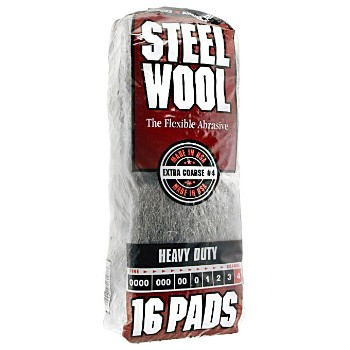 Steel Wool Pads, #4 Coarse, HD ~ 16 Pads/Pack