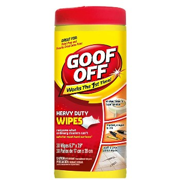 "Goof Off Wipes, Canister of 30 Count ~ 6.7"" x 7.9"" Sheets"