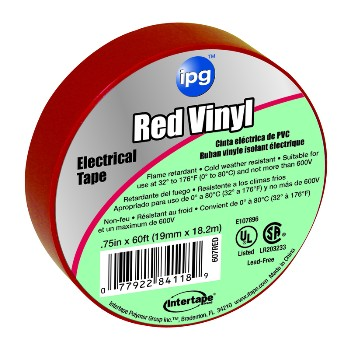 Electrical Tape, Red 3/4 inch x 60 ft