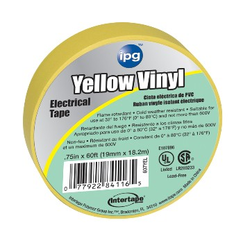 Electrical Tape, Yellow 3/4 inch x 60 ft