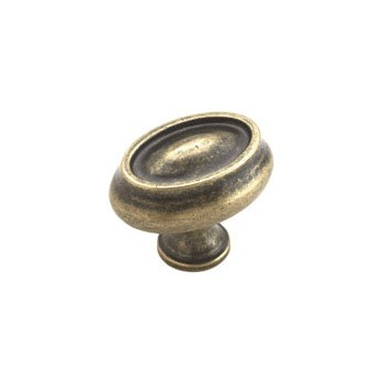 Knob - Oval - Weathered Brass Finish - 1.5 inch