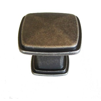 Square Knob, Weathered Nickel ~ 1 1/4""