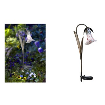 Solar Powered LED Glass Lily Stake Light