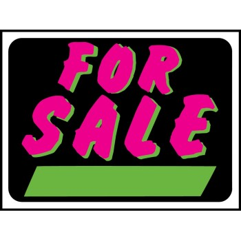 For Sale Sign, Fluorescent Plastic 9 x 12 inch