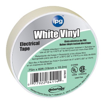 Electrical Tape, White 3/4 inch x 60 ft