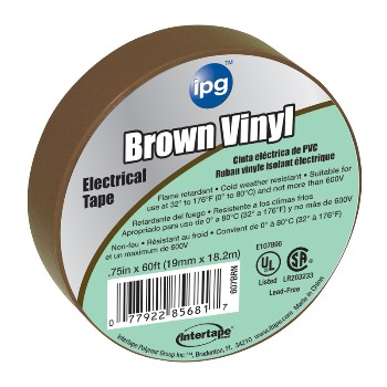 Electrical Tape, Brown 3/4 inch x 60 ft