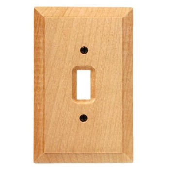 Switch Plate, Unfinished Wood,  Single Toggle