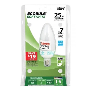 Compact Fluorescent Light Bulb, Chandelier 3 Watt