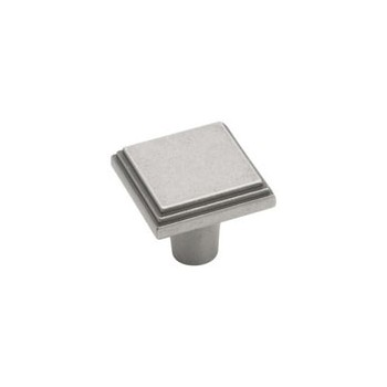 Knob - Square - Weathered Nickel Finish - 1 inch