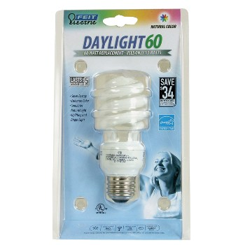 Compact Fluorescent Light Bulb, Mini Twist Daylight 13 Watt