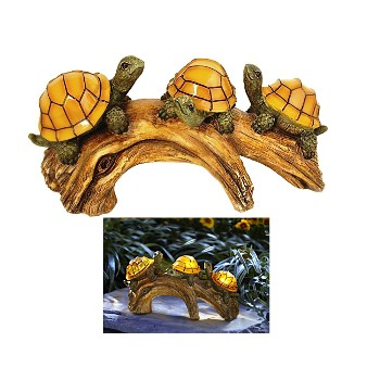 LED Solar Light ~ Turtles on a Log