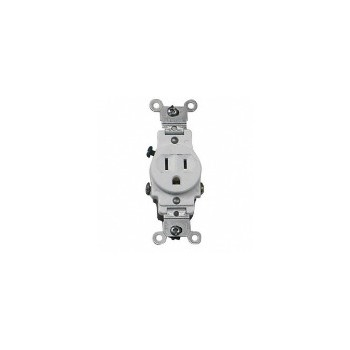 Single Grounded Outlet - White