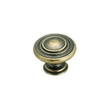 Knob - Weathered Brass Finish - 1 3/8 inch