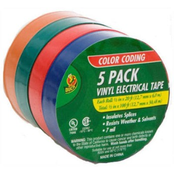 "Electrical Tape, Assorted Colors/5 Pak ~ 1/2"" x 20 ft"
