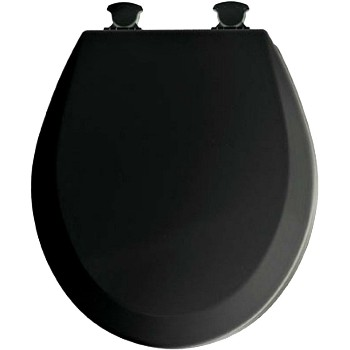 Buy The Bemis 46ECDG047 Toilet Seat Round Molded Wood Black Hardware World