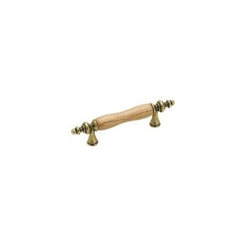 Pull - Royal Family Burnished Brass with Oak Inset - 3 inch