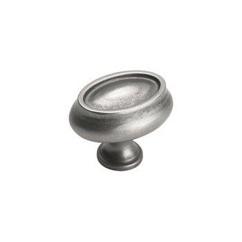 Knob - Oval - Weathered Nickel Finish - 1.5 inch