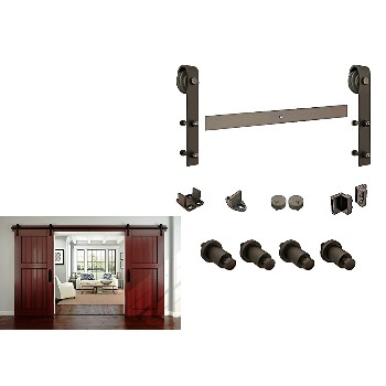 Buy the national n186 960 sliding door track w hardware rustic hardware world - Cabinet sliding door tracks and rollers ...