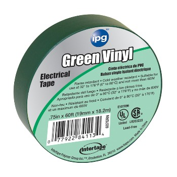Electrical Tape, Green 3/4 inch x 60 ft