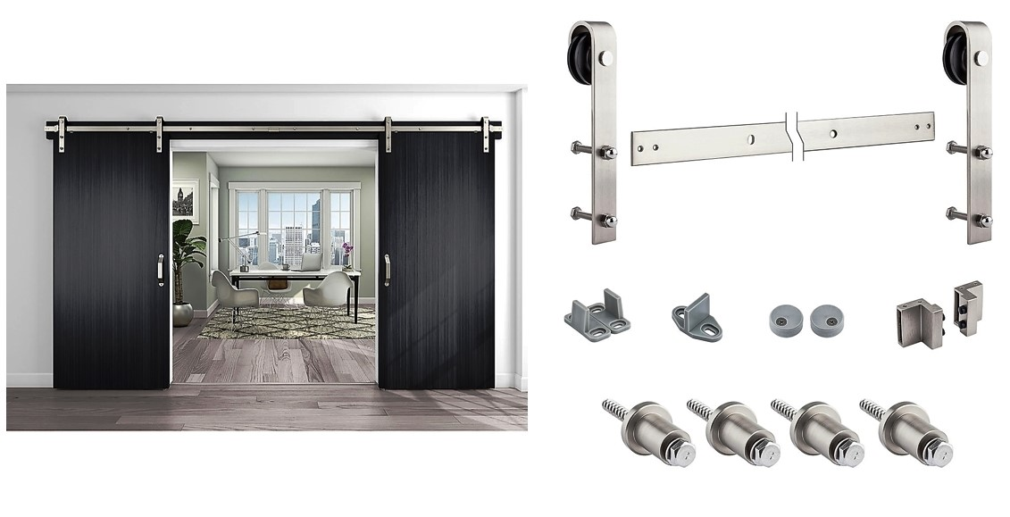 Decorative Interior Sliding Door Hardware, Satin Nickel. National