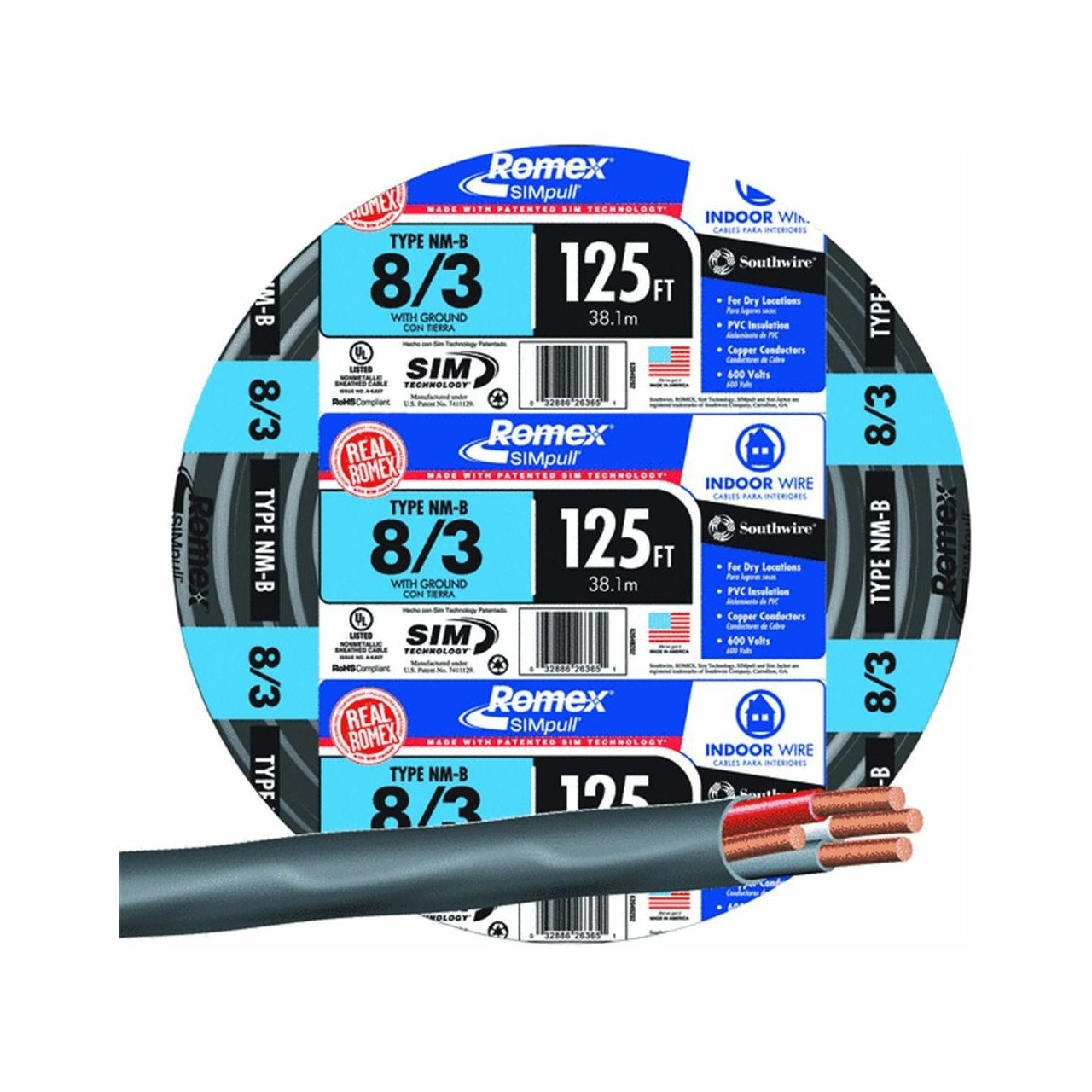 Buy the Southwire 63949202 Non-Metallic 8/3 Sheathed Cable w/Ground ...