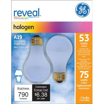 General Electric  63008 Reveal Energy Efficient Halogen Light Bulb - 53 watt/75 watt