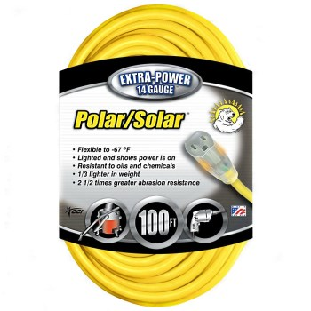 Coleman Cable 01489 Polar/Solar Plus Series Outdoor Extension Cord, Yellow ~ 100 feet
