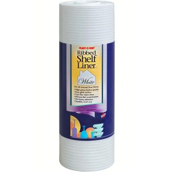 "Warp Bros SPM110W Plast-O-Mat Ribbed Shelf Liner, White ~ 12"" W x 10 Ft Long"