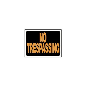 No Trespassing Sign, Plastic 9 x 12 inch