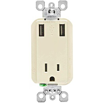 Leviton R08-T5630-T Combo Receptacle & USB Charger Ports ~ Ivory