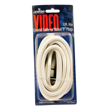 RG6 Coax Cable & F Plug, White ~ 12 Ft