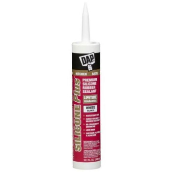 DAP 08770 Silicone Plus Rubber Kitchen & Bath Sealant, White ~ 10.1 oz Tubes