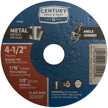 Century Drill & Tool   75522 4-1/2x1/16 Mtlgrnd Wheel 75522