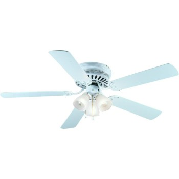 "Bermuda Design Series 52"" Flush Mount Ceiling Fan,  Gloss White  Finish ~ 5 Blade"