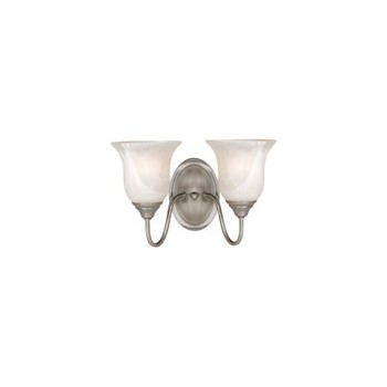 2 Light Wall Light Fixture, Saturn Satin Nickel