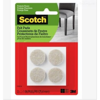 3M SP848-NA Round Felt Pads,12pk ~1in.