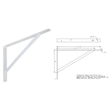 White Shelf Bracket, 16 inches