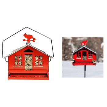 "Perky Pet  Squirrel-Be-Gone Country House  Style Bird Feeder, Red ~ Approx 13"" W x 12"" H x 11"" Deep"