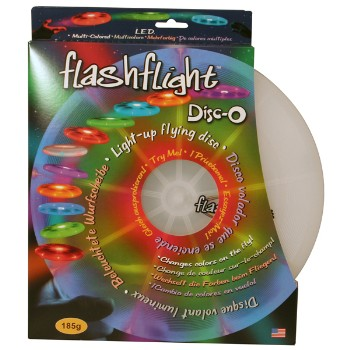 LED and Fiber Optics Illuminated Flying Disc, Disc-O