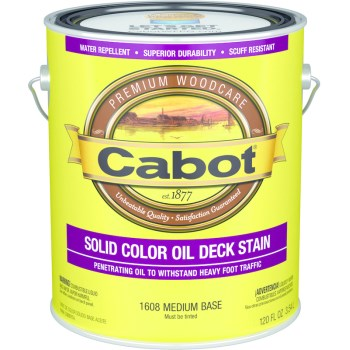 Solid Color Oil Decking Stain, Medium Base ~ Gallon