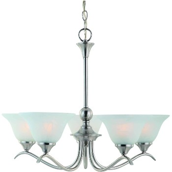 5 Light Chandelier, Satin Nickel