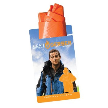 Bear Grylls Survival Poncho, Orange, 40 in X 21 in