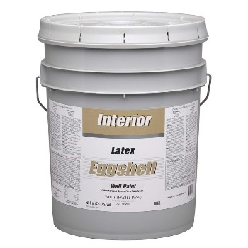 Interior Latex Paint, Eggshell White/Base ~ 5 Gallons