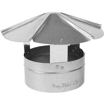 "Gray Metal Prods 8-327R Round Shanty Style Rain Cap, 26 Gauge Galvanized Steel  ~  8"""