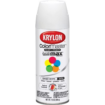 Spray Paint, Bright White Satin ~ 12oz Cans
