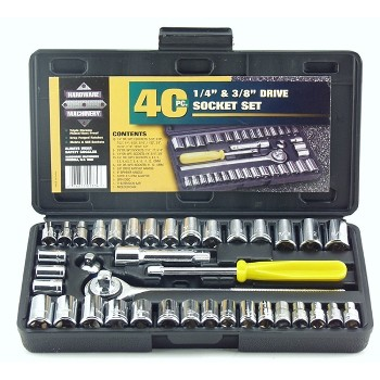Socket Set,  SAE & Metric ~ 40 Piece